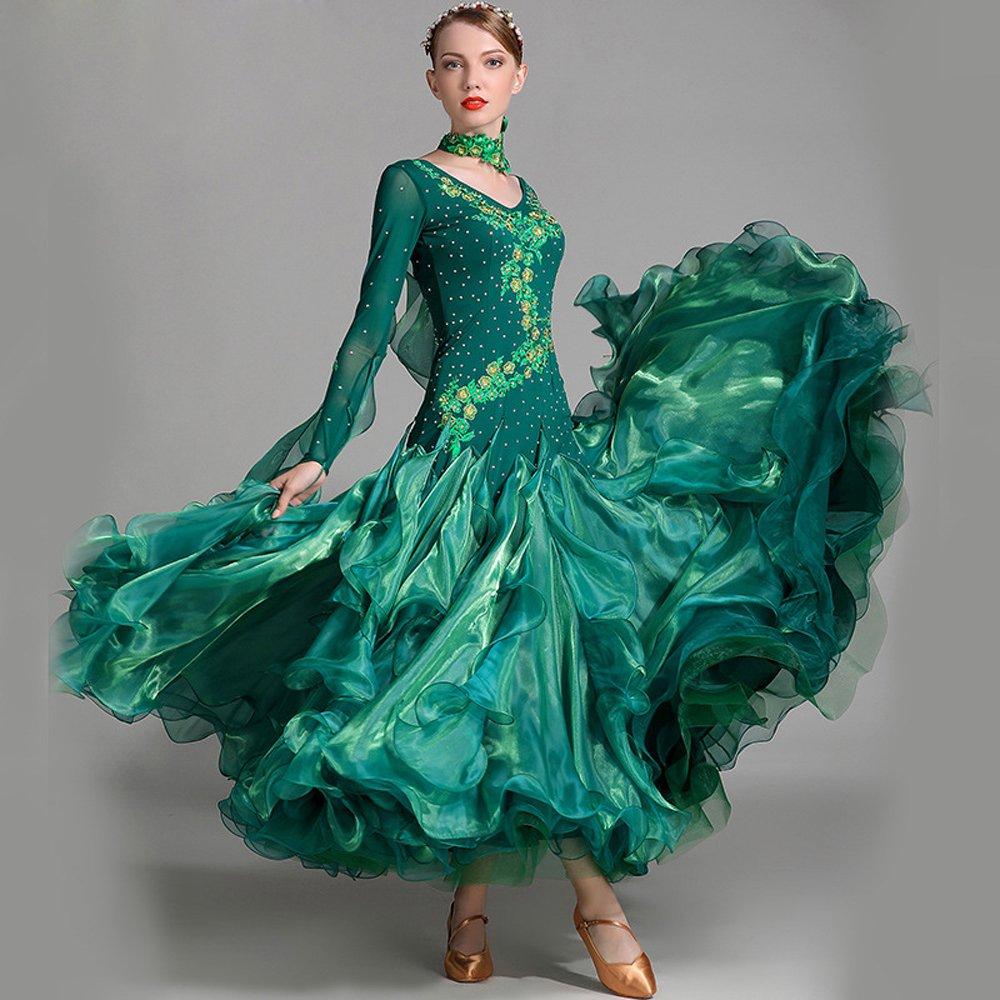 モダンな女性の大きな振り子手刺繍モダンダンスドレスストラップタンゴとワルツダンスドレスダンスコンペティションスカート長袖ラインストーンダンスコスチューム B07HHXSJF3 Medium|Green Green Medium
