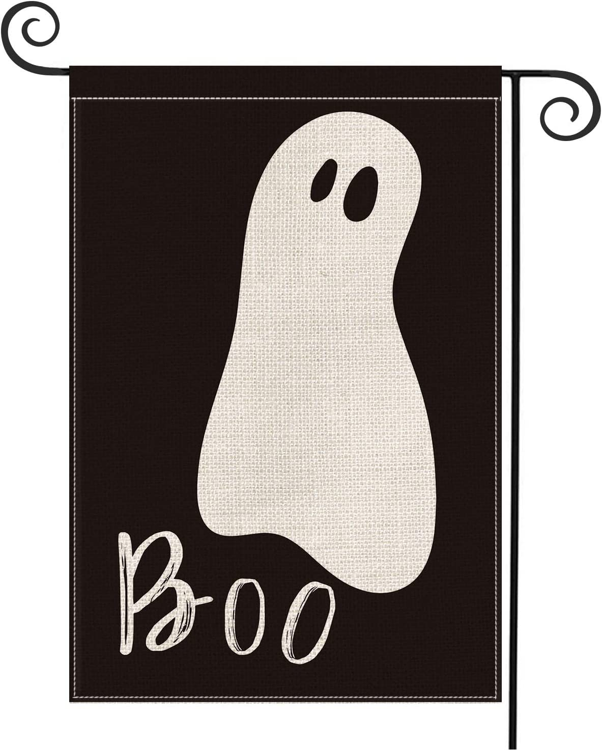 AVOIN Halloween Boo Garden Flag Vertical Double Sized Ghost Spooky, Holiday Yard Outdoor Decoration 12.5 x 18 Inch