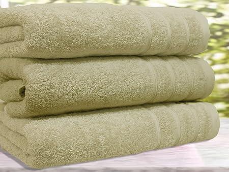 Casabella - Juego de 3 toallas de baño, algodón egipcio de 550 g/m², tamaño extragrande, algodón, beige, 3 Bath ...