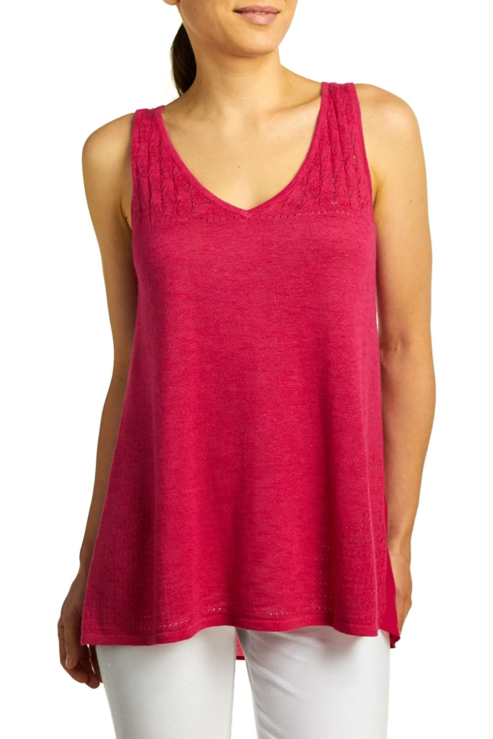 fb6ae906d4 August Silk Women's Sleeveless Lace Pointelle Front Sweater Tank Top ...