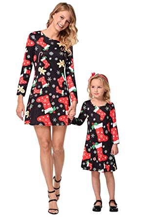 tra qualche giorno vendita a buon mercato nel Regno Unito come acquistare Vestiti Mamma e Figlia Natale Vintage Mini Swing Abito ...