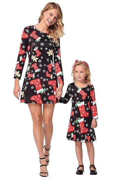 bb7a2e9f27d2 Vestiti Mamma e Figlia Natale Vintage Mini Swing Abito Girocollo Manica  Lunga Vestito Stampa Christmas Abiti