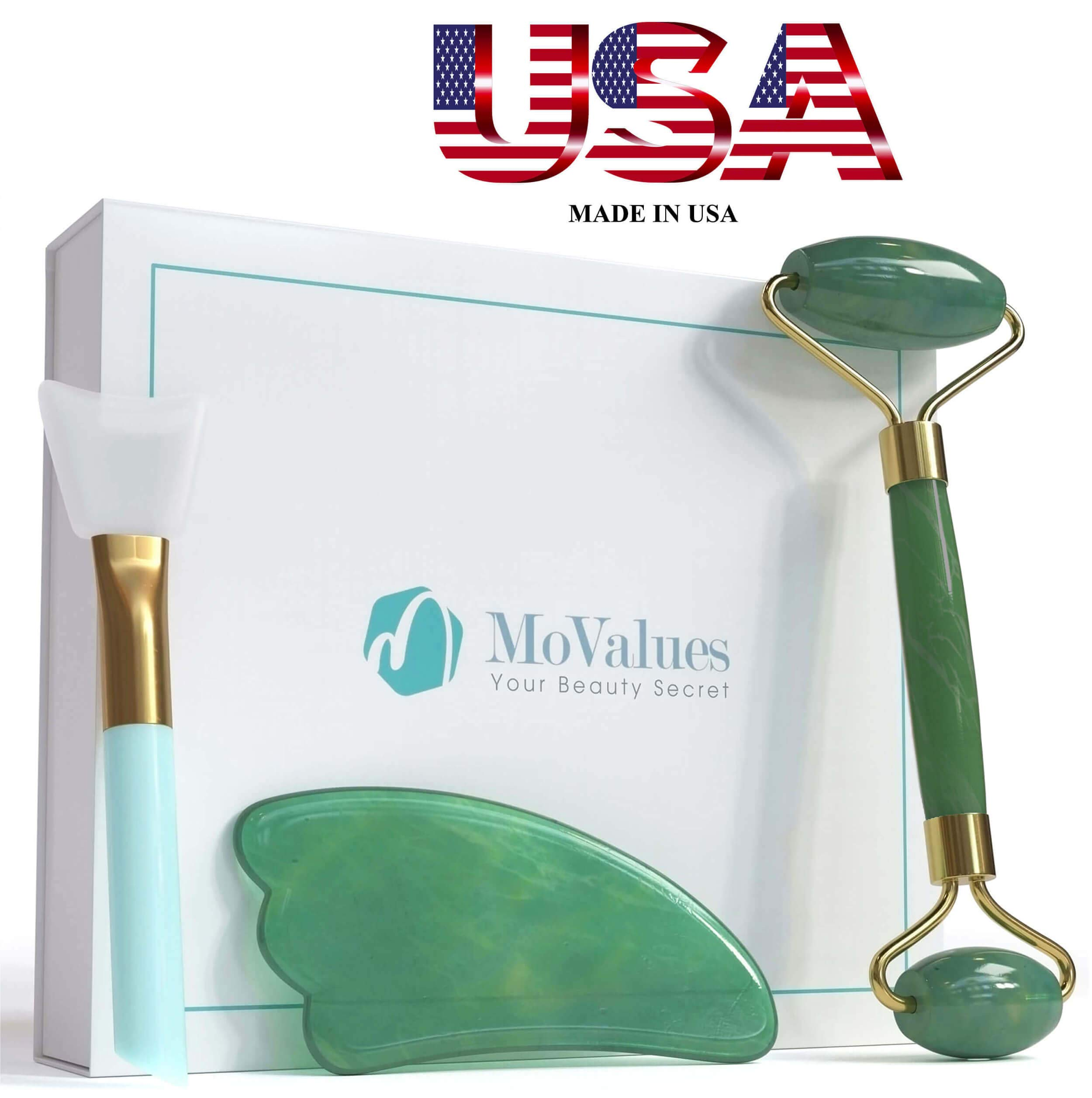 Authentic Jade Roller and Gua Sha Set - Jade Roller for Face - Face Roller, Real 100% Jade - Face Massager for Wrinkles, Anti Aging - Natural, Durable, No Squeaks - with Mask Brush by MoValues