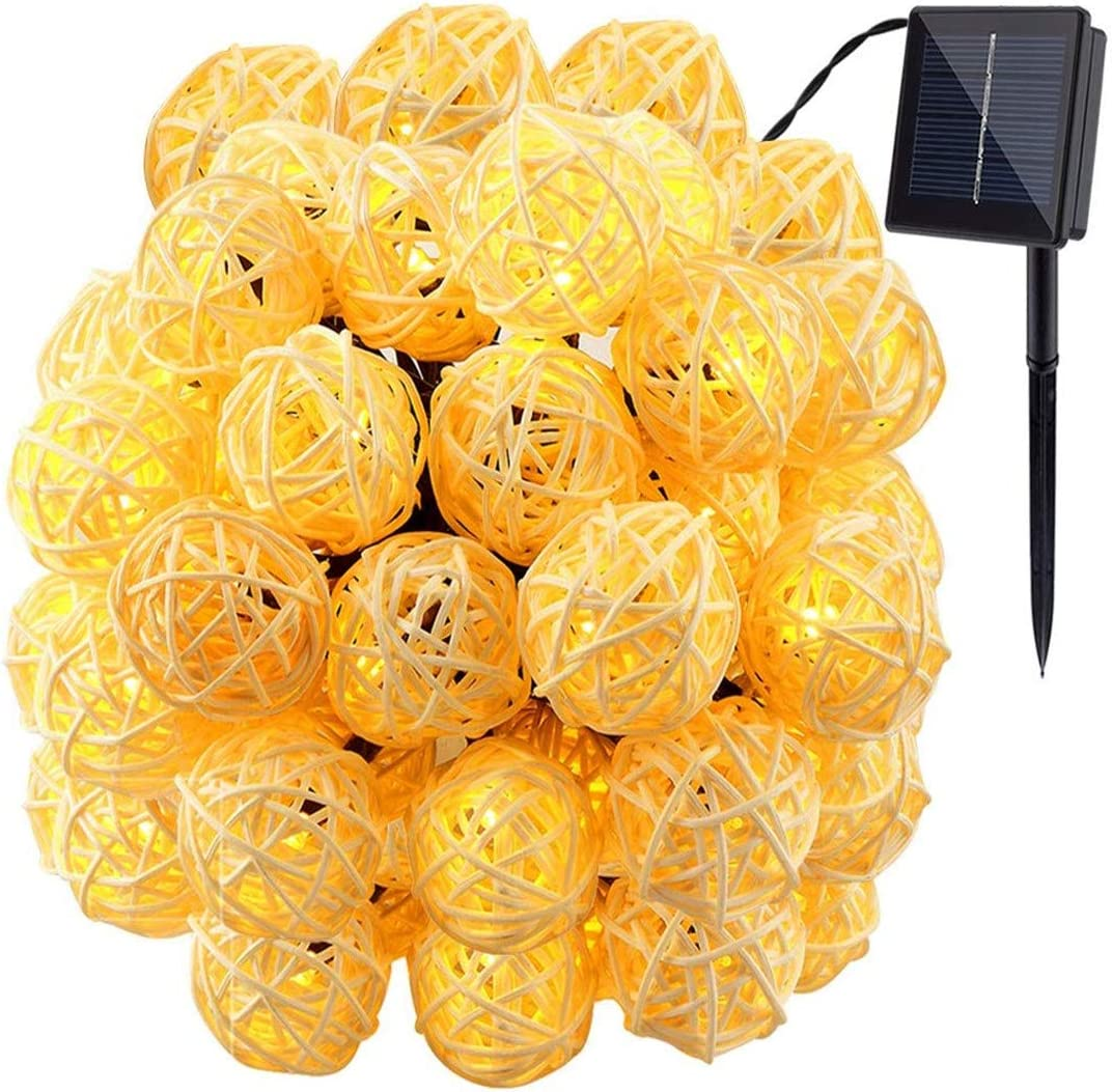 Yohencin Solar String Lights 30LED 20ft Solar Powered Starry Fairy Outdoor Rattan String Lights Ambiance Lighting for Landscape Patio Garden Bedroom Camping Christmas Party Wedding Warm White (1)