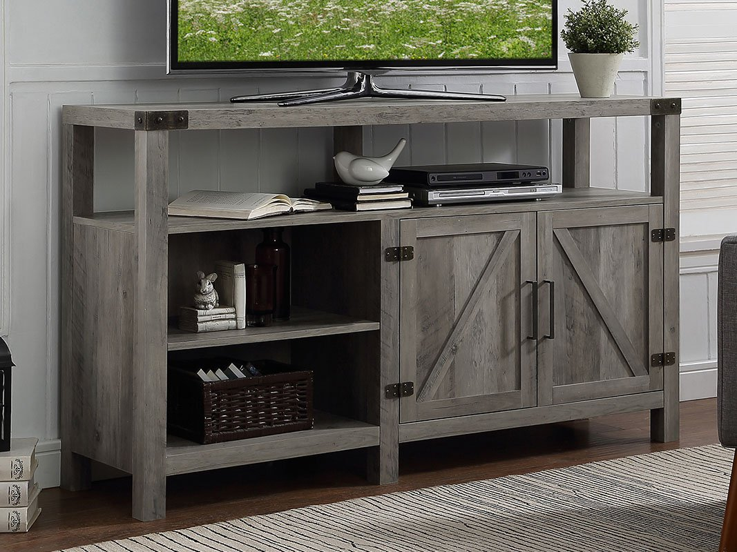 Home Accent Furnishings New 58 Inch Wide Barndoor Highboy Television Stand (58 Inch, Grey Wash) by Home Accent Furnishings