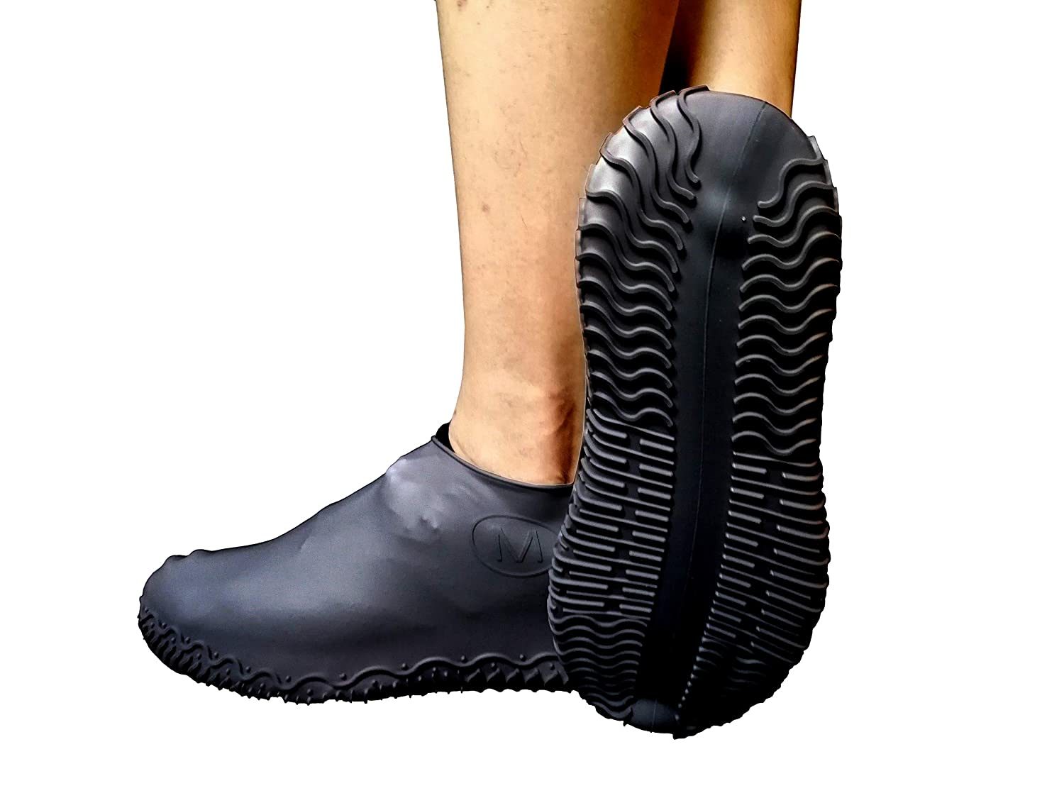 Waterproof Shoe Cover | Reusable Silicone Boot Shoe Covers | Silicone Rubber Shoe Protectors for Indoor and Outdoor Protection |Made of Heavy Duty Silicone|Men Women Kids |1 Pair(Medium,Clear white