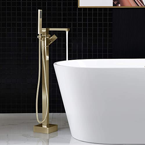 WOODBRIDGE F0008 BG F0008BG Contemporary Single Handle Floor Mount Freestanding Tub Filler Faucet with Hand Shower in Brushed Gold Finish