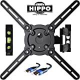 """HIPPO HP679TS Curved&Flat Panel TV Wall Mount Bracket for 26""""-55"""" TVs up to 88 lbs, VESA 400x400mm, Full Motion Swivel Articulating 20"""" Extension Arm , 6.5 ft HDMI Cable & Bubble Level Included"""