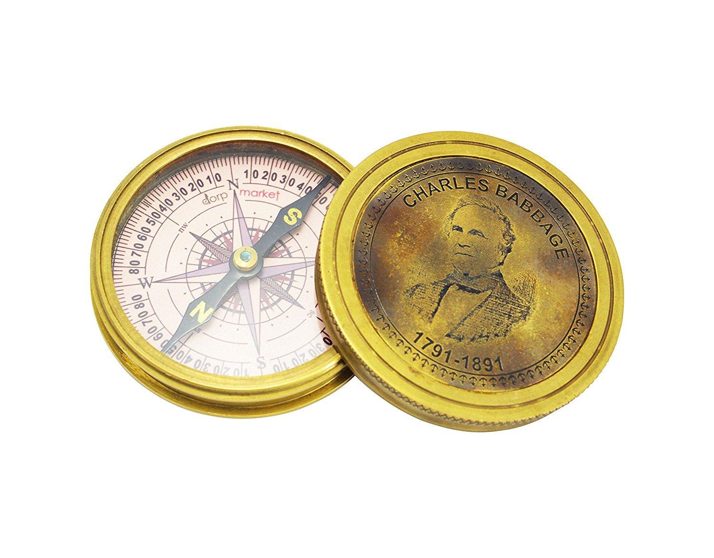 3インチ 真鍮 Charles Babbage コンパス/ポケットコンパス   B079DR2Y31