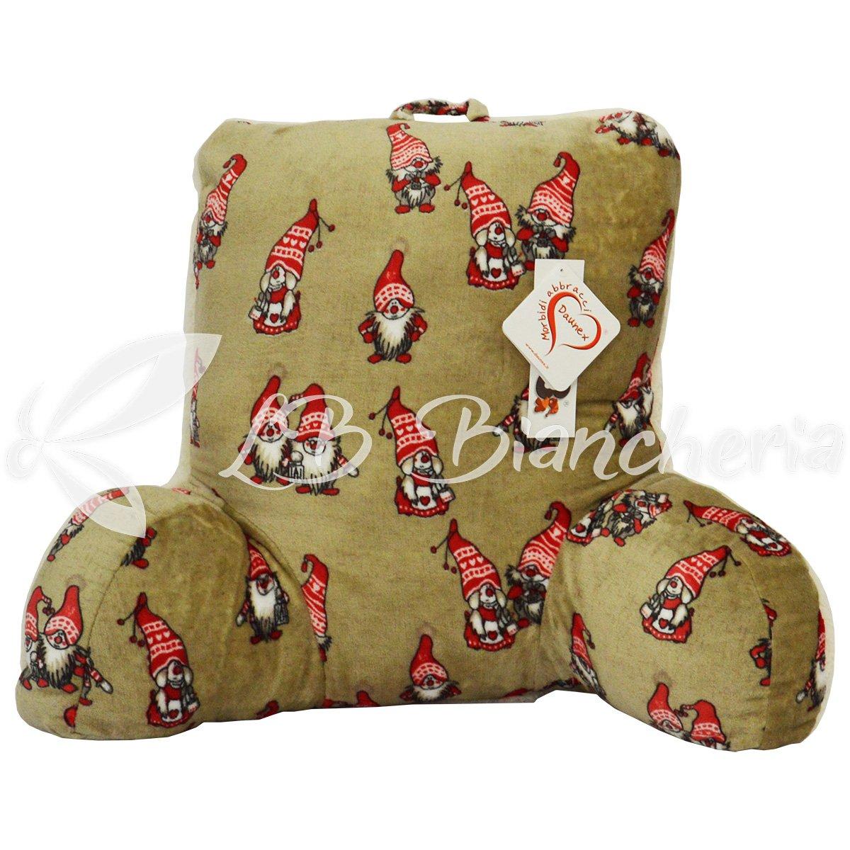 Daunex - Cuscino da Lettura GNOMI, sostegno per la schiena da letto, divano o poltrona, cm 60x45x30 - Originale Morbidotto - Tortora Lbbiancheria
