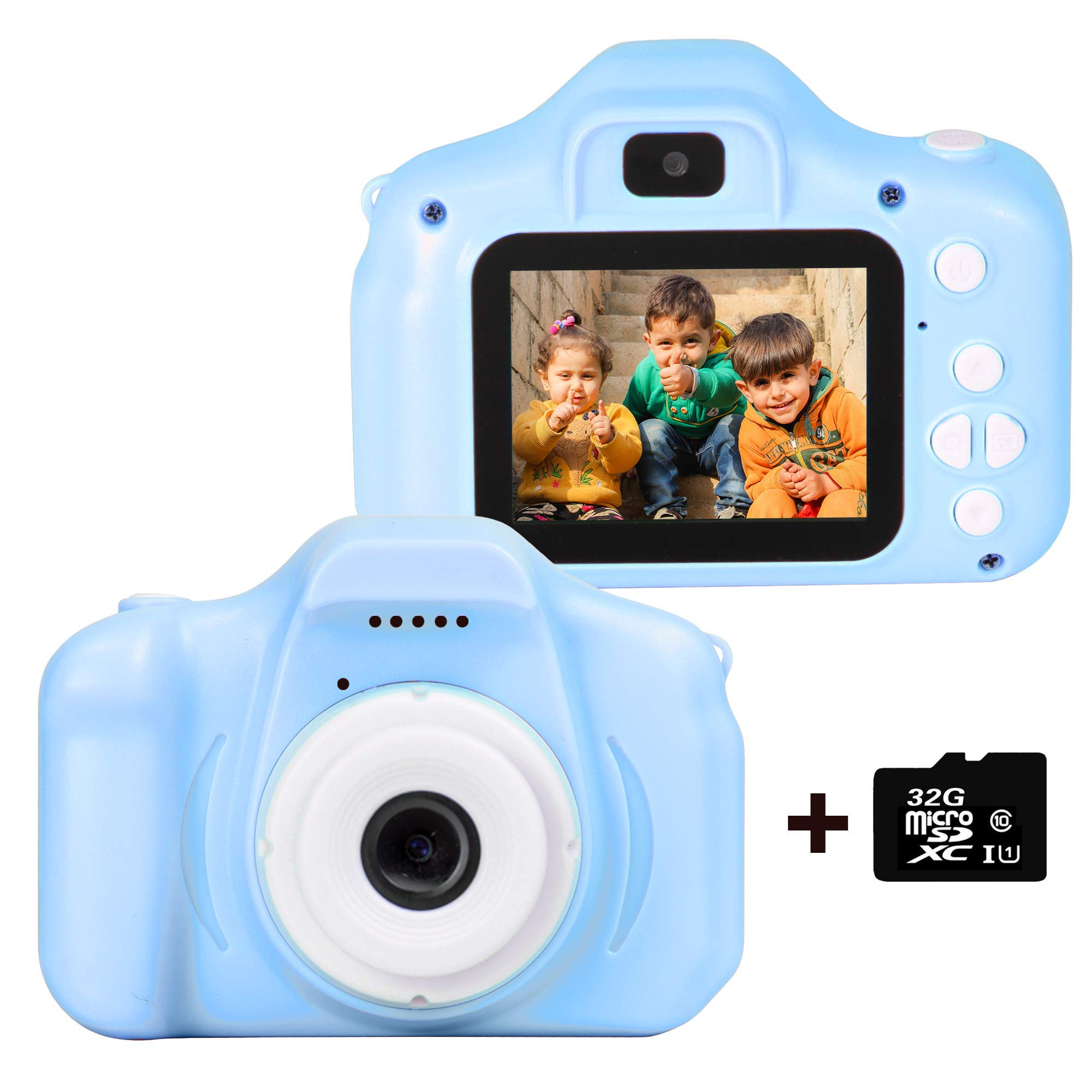 le-idea Kids Camera 1080P Dual 12MP Mini 2.0 inch IPS Display Shockproof Child Digital Selfie HD Camera Camcorder Gifts for 3-10 Year Old Girls & Boys Outdoor Play, Blue (32GB Memory Card Included)