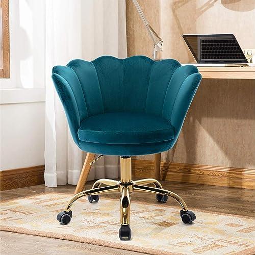 Goujxcy Home Office Chair,Teal Velvet Desk Chair,Modern Ergonomic Computer Desk Chair