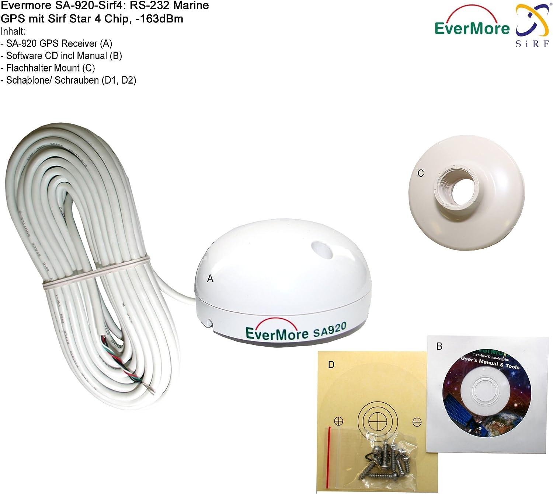 Evermore Marino - Receptor GPS de 48 canales SA-920 RS-232 Interfaz SiRF star 4 Sirf IV, circuito integrado de alta sensibilidad, 163 dBm, Serie NMEA 0183 para VHF FM, Plotter Bord PC,