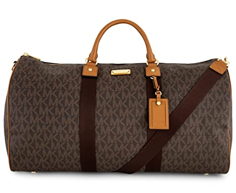 f0a555526345 Michael Kors Leather Travel Logo Duffle Large Bag Printed Duffel Luggage ( Brown acorn)