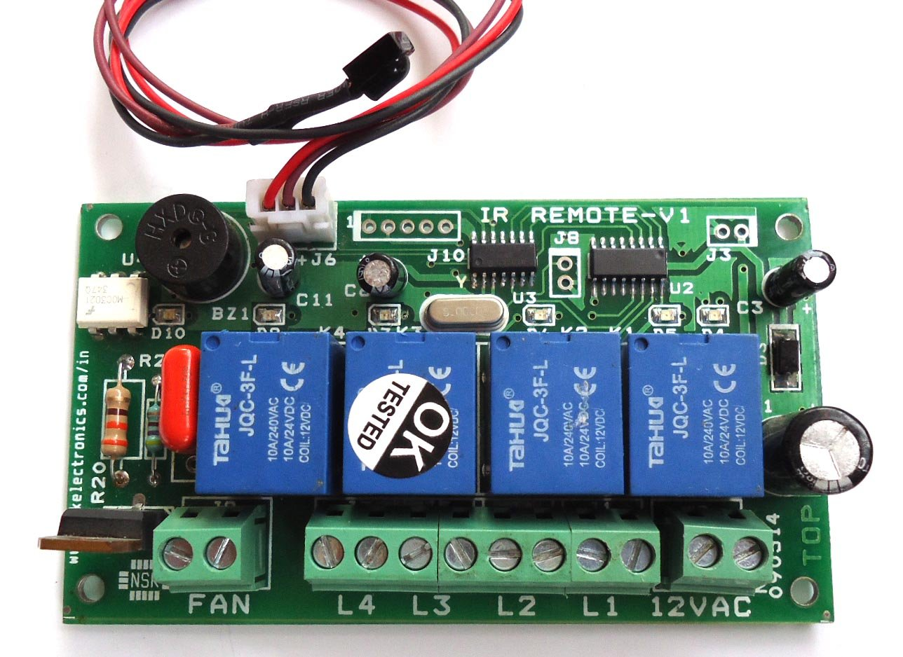 Ir Based Remote Control For 4 Light Load 250w Each Max And 1 Fan Infrared Switch Circuit Applications Speed Electronics