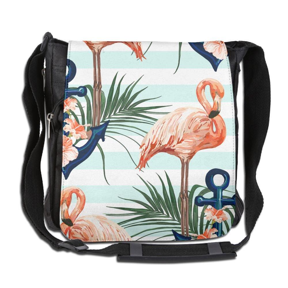 b5f461a3d6ee 85%OFF Unisex Narrow Diagonal Shoulder Bag Flower Anchor Flamingo Green And  White Stripe Printed