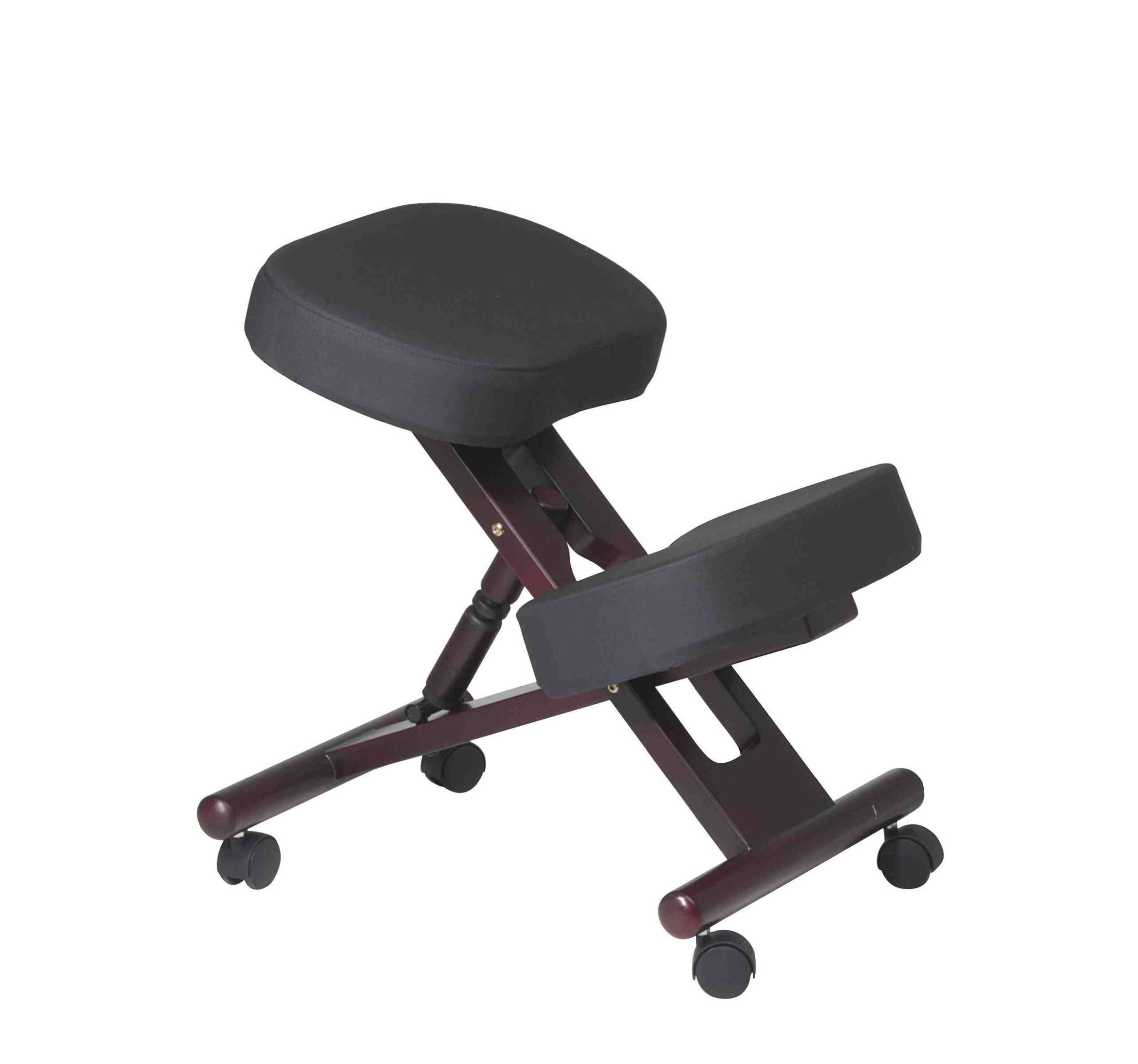 Office Star Ergonomically Designed Knee Chair with Casters, Memory Foam and Mahogany Finished Wood Base, Black by Office Star