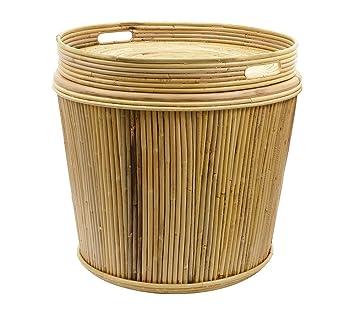 Beistelltisch Bambus Korb Mit Tablett Deckel Karibik H 48cm Amazon