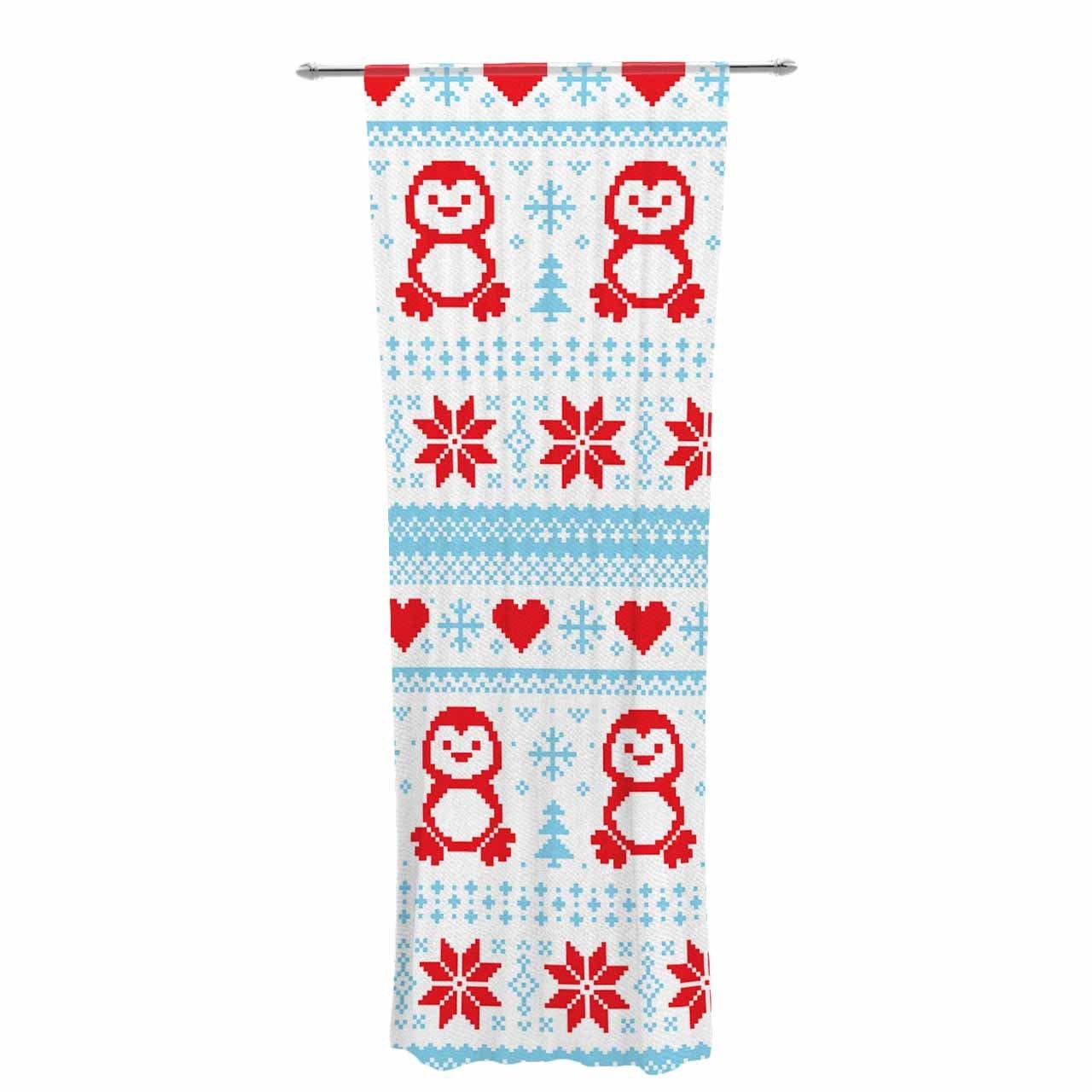 Kess InHouse Kess Original Pixel Penguin Holiday Sheer Curtains 30 x 84