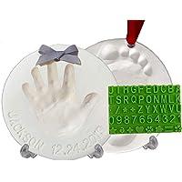 Baby Handprint Footprint Keepsake Ornament Kit (Makes 2) - Bonus Stencil for Personalized Christmas, Newborn, New Mom…
