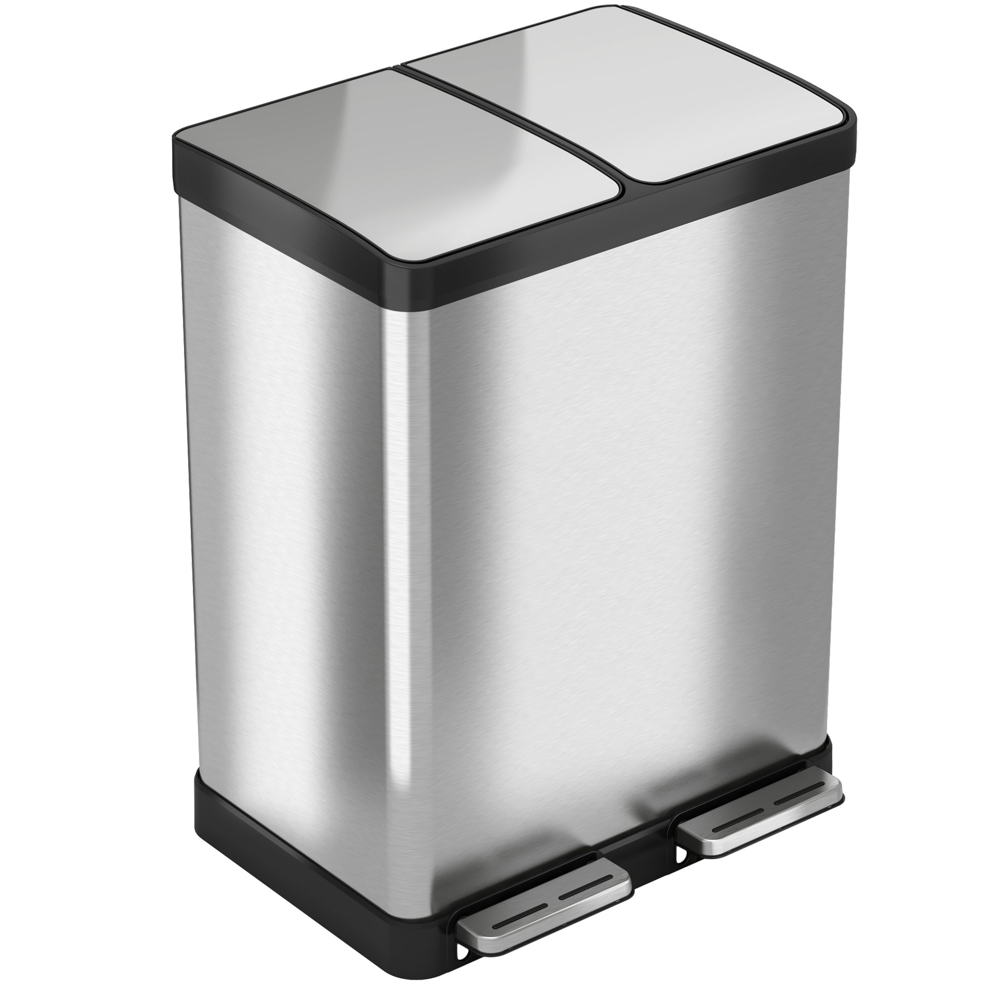 iTouchless SoftStep 16 Gallon Step Trash Can / Recycle Bin – 61 Liter Stainless Steel Kitchen Trash Can – 2 8-Gallon Removable Inner Buckets – Perfect for Kitchen, Office, Home