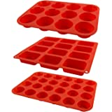 Zenware Circular and Rectangular Non Stick Silicone Baking Mold Tray 3-in-1 Set for Cupcakes, Muffins and Brownies