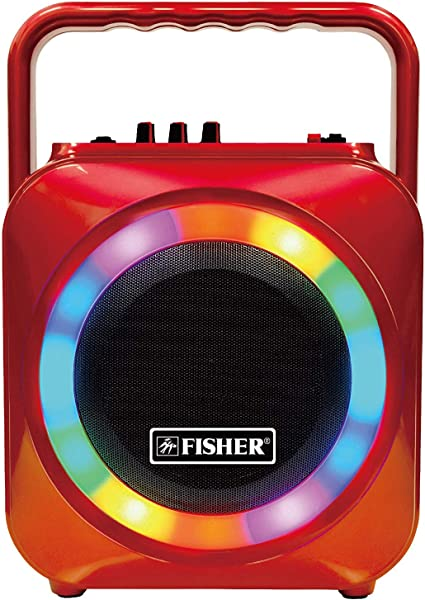 """Fisher Bluetooth Wireless Portable Party Speaker w// 6/"""" Subwoofer AUX LED Lights"""