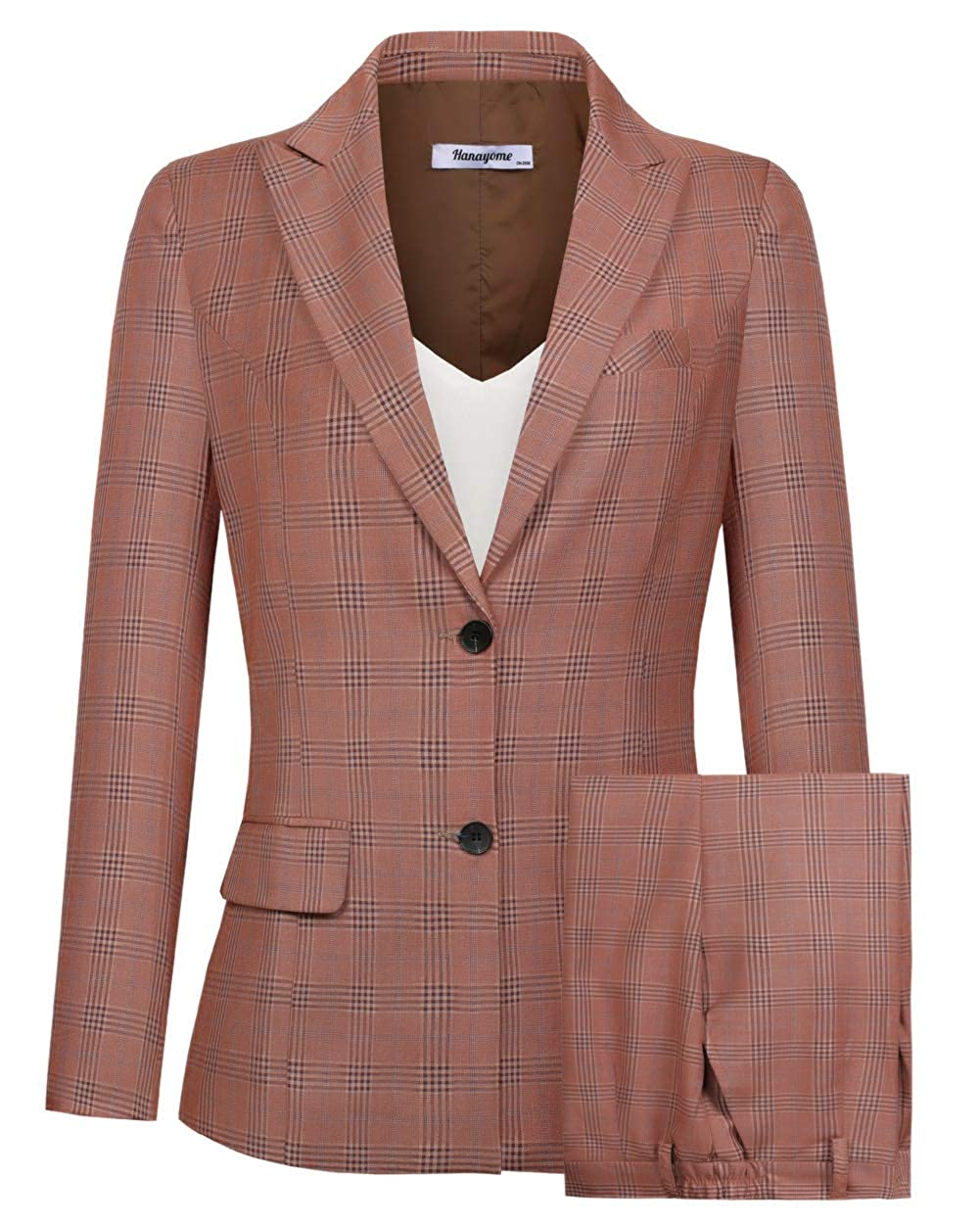 Hanayome Womens One Button Slim Fit Two Pieces Blazer Jacket Trousers MI5