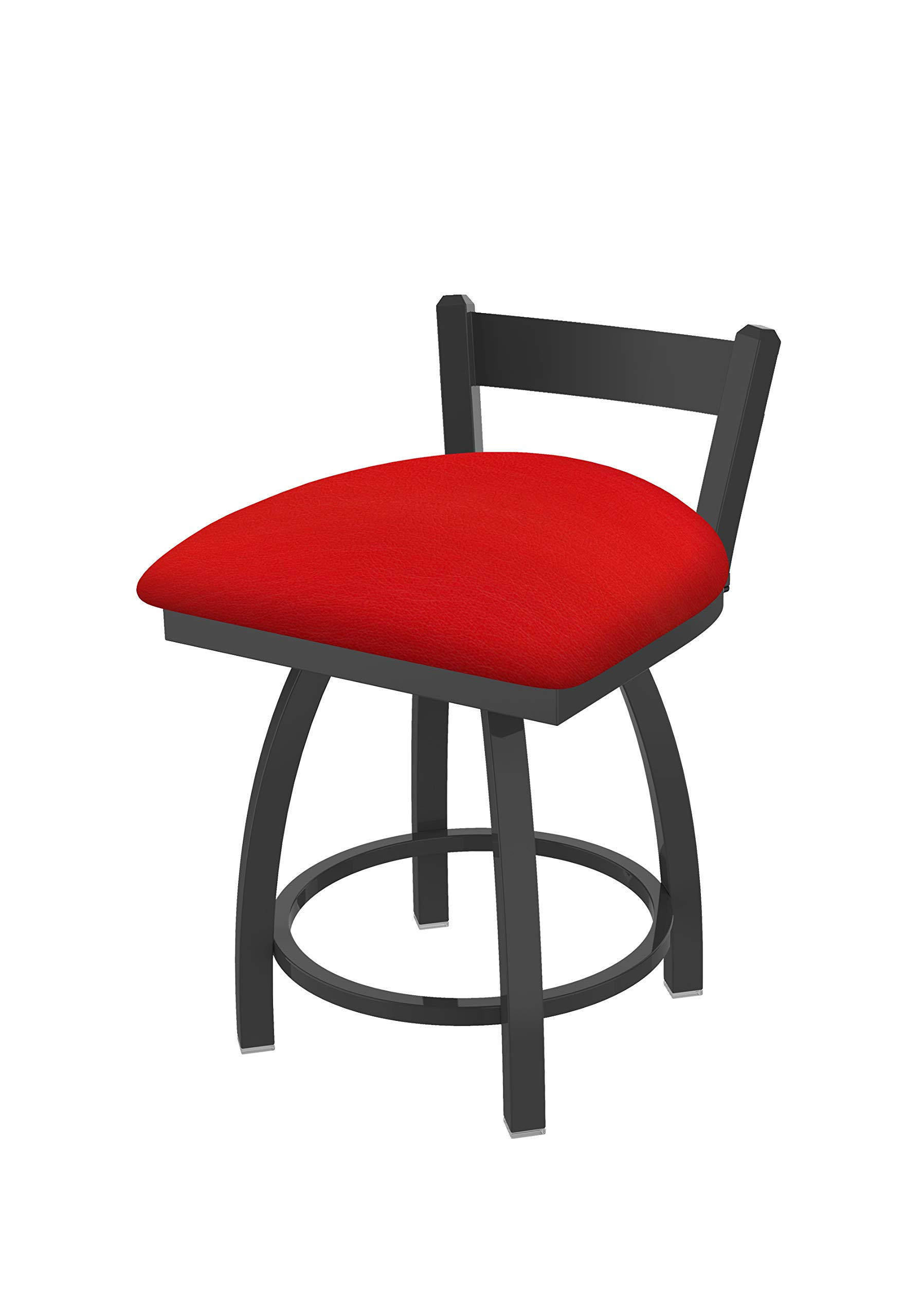Holland Bar Stool Co. 82118PW011 821 Catalina 18'' Low Back Swivel Vanity Pewter Finish and Canter Red Seat Bar Stool,