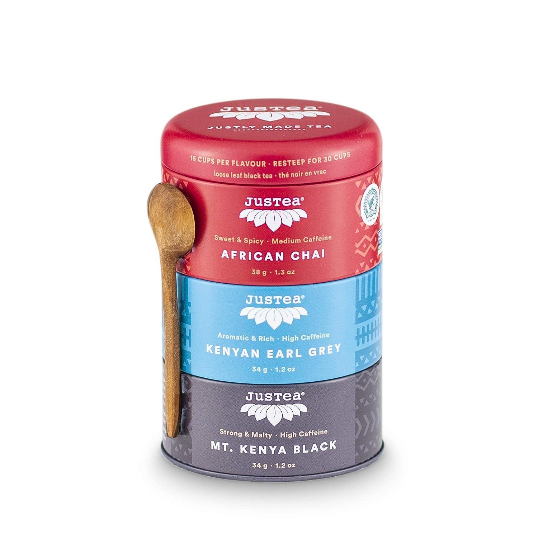 JusTea Black Tea Trio   Stacking Tins Variety Pack with Hand Carved Tea Spoon   Loose Leaf Tea   High Caffeine   Award-Winning   Fair Trade   Non-GMO