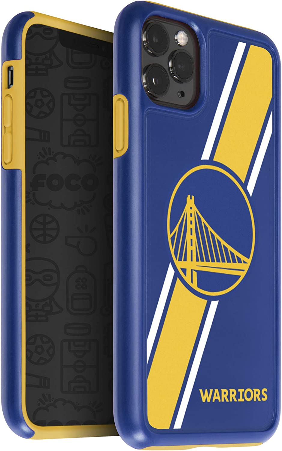 FOCO NBA Golden State Warriors Unisex iPhone 11 MAX Pro 6.5 Inch Screen Only Dual Hybrid Impact Licensed Case Team Color One Size