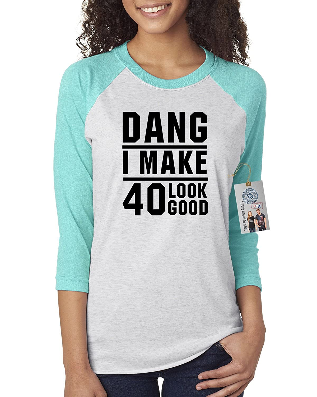 31476364 Amazon.com: 40th Birthday T Shirt Dang I Make 40 Look Good Womens 3/4  Raglan Sleeve T-Shirt Top: Clothing