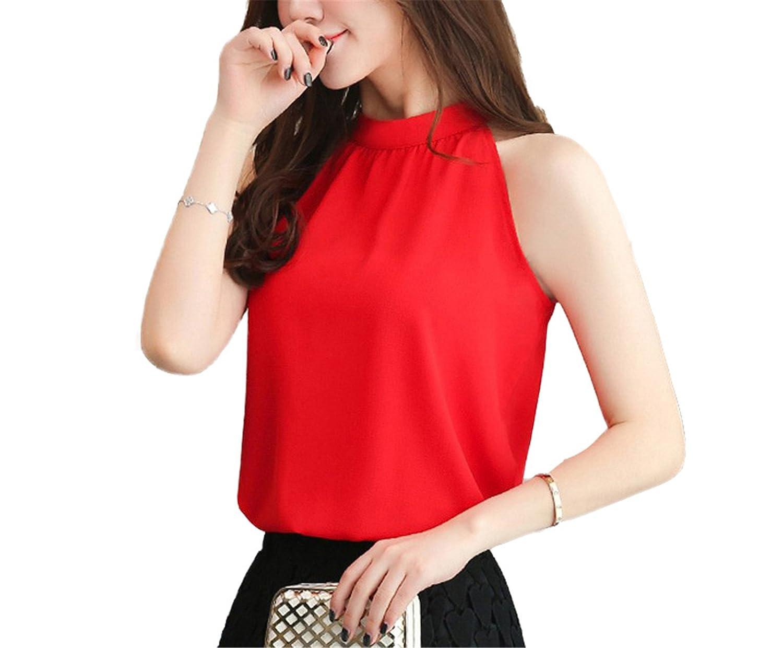 98619f925da OUXIANGJU Women Tank Top Summer Sleeveless Halter Vest Female Casual Chiffon  Tops Tees Debardeur at Amazon Women s Clothing store