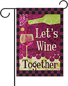 """ShineSnow Wine A Bit Grapes Red Vino Country Drinks Small Double Sided Garden Yard Flag 12"""" x 18"""", Lets Wine Together Colorful Glass Bottle Decorative Garden Flag Banner for Outdoor Home Decor Party"""