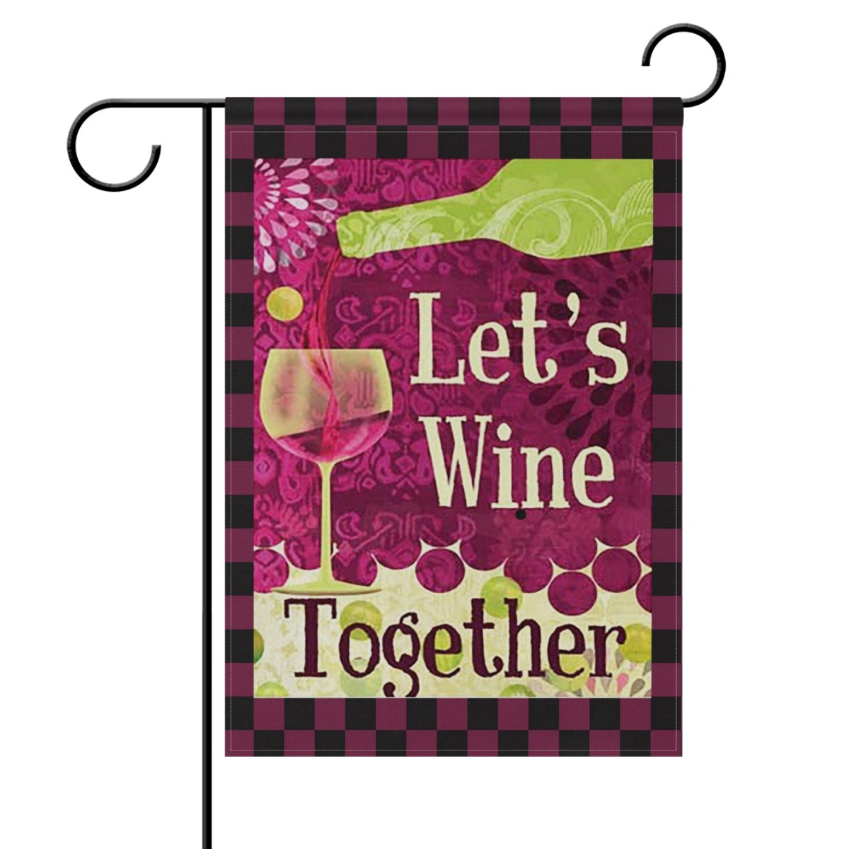 ShineSnow Wine A Bit Grapes Red Vino Country Drinks Small Double Sided Garden Yard Flag 12'' x 18'', Lets Wine Together Colorful Glass Bottle Decorative Garden Flag Banner for Outdoor Home Decor Party
