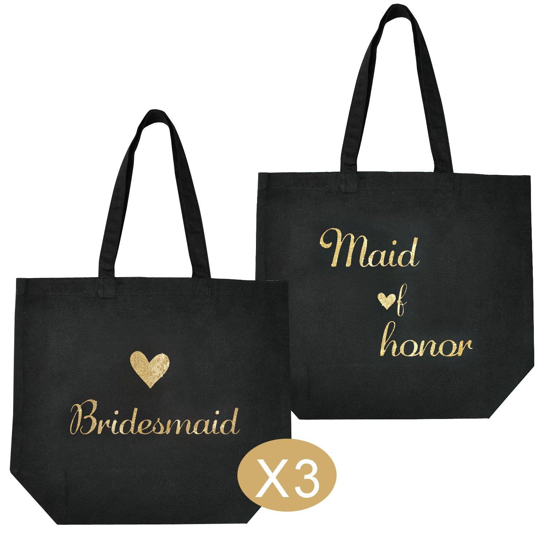 ElegantPark 1 Pcs Maid of Honor Bag 3 Pcs Bridesmaid Tote Bags Set for Womens Wedding Favors Bachelorette Gift Black with Gold Script 100/% Cotton