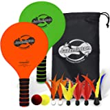Funsparks Paddle Ball Game Jazzminton Deluxe with LED Birdie - Indoor/Outdoor Game for Kids, Teens and Adults