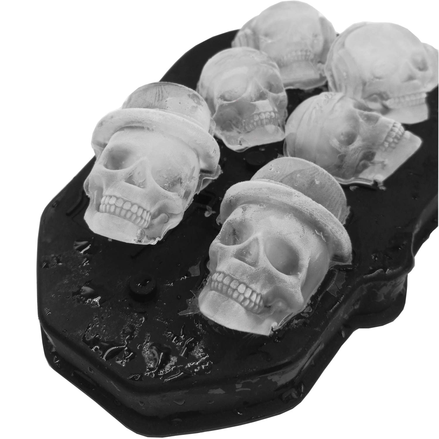 3D Ice Skull Mold-Flexible Food Grade Silicone Ice Cube Trays, Best for Whiskey, Cocktails and Vodka, Perfect Ice Cube Maker for Party and Christmas Eve Gifts, Black