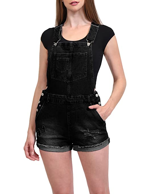 1ddabf1e02d J. LOVNY Womens Cute Denim Shorts Distressed Jumpsuits Shortall Overalls at  Amazon Women s Clothing store
