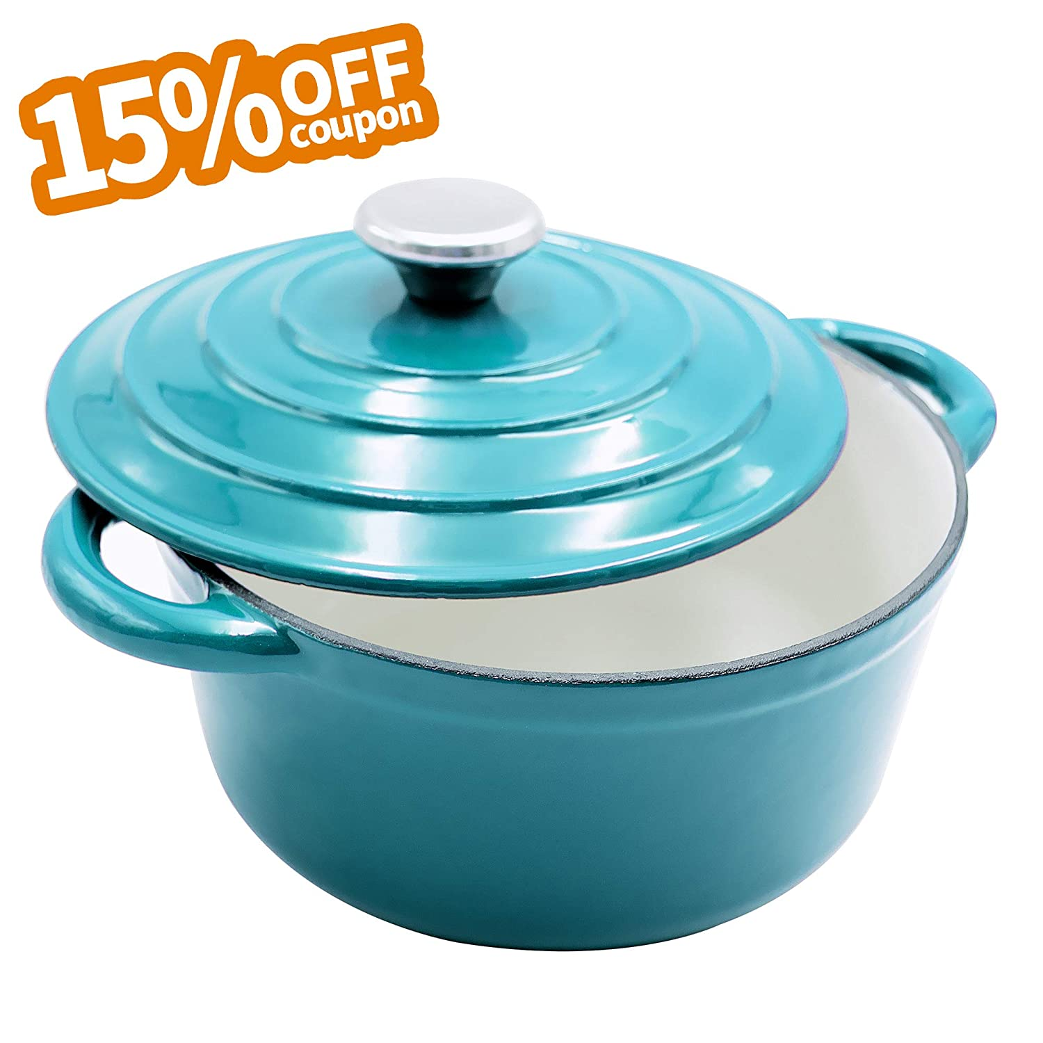 AIDEA Enameled Cast Iron Dutch Oven - 5-Quart Turquoise Blue Round Ceramic Coated Cookware French Oven with Self Basting Lid