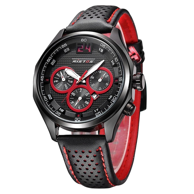 Men 's Luxury Best Sport Watches通気性レザーバンドドレス手首腕時計ファッションビジネスカジュアル光デザインカレンダー日付ウィンドウフェーズ防水 レッド B06XWCMLGMレッド