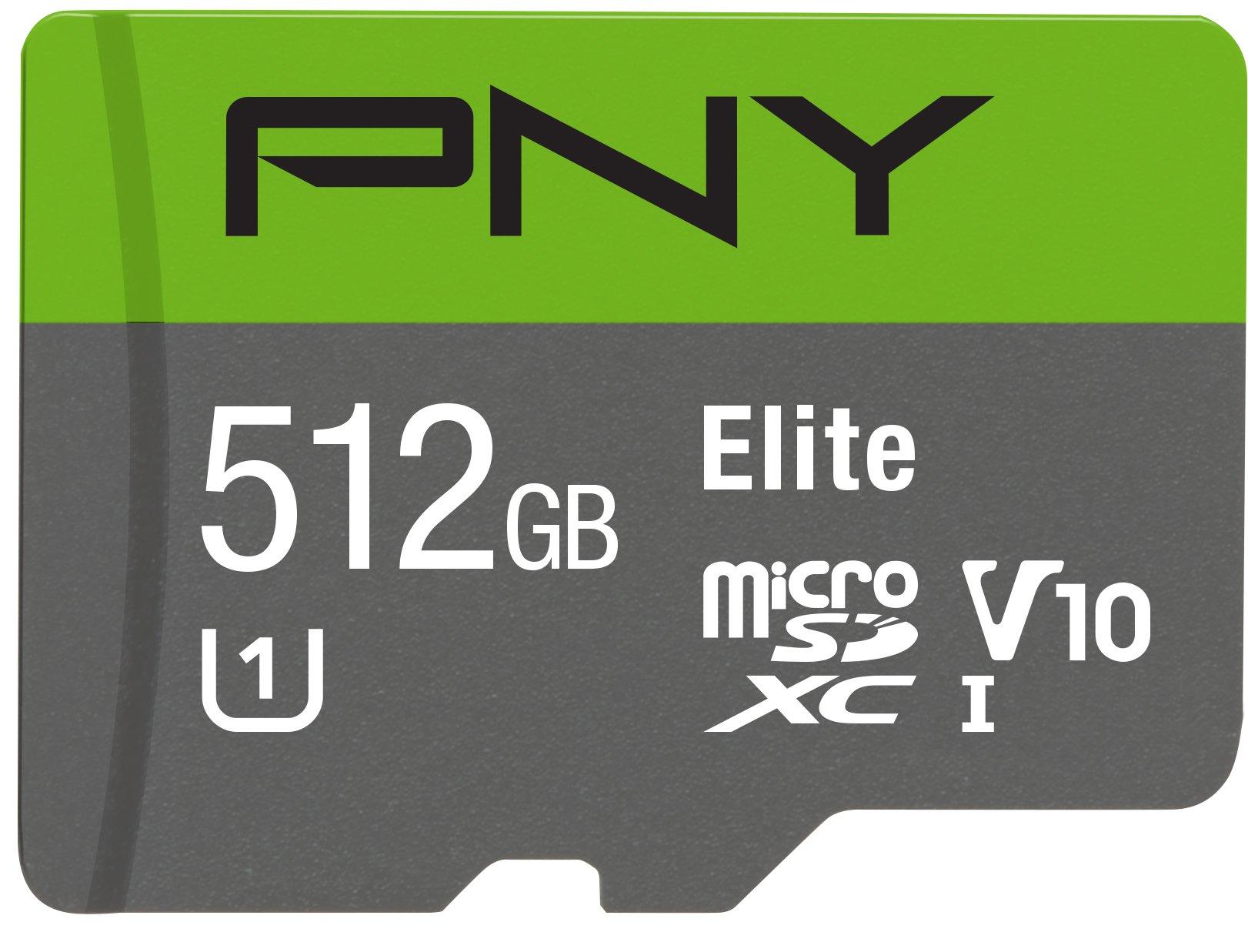 PNY Elite 512GB microSDXC Card, Up to 90MB/S - (P-SDU512U190EL-GE) by PNY
