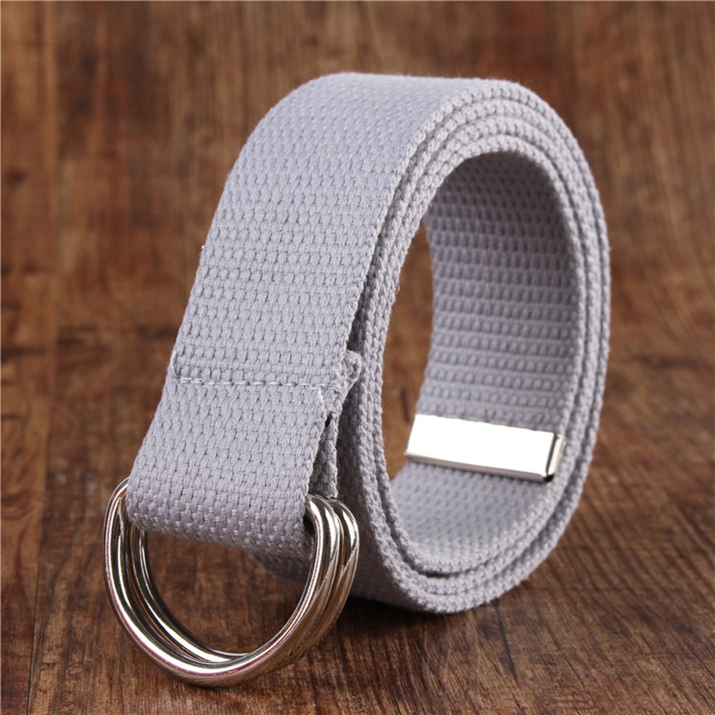 Sunsnow Canvas Web Belt Double D-Ring Buckle 1.5 Wide with Metal Tip Solid Color