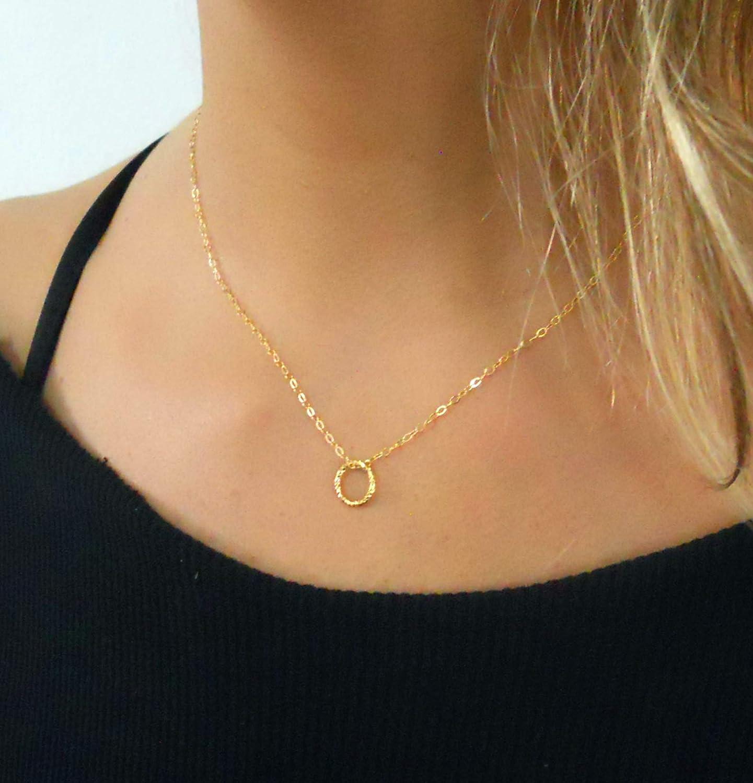 afa6baa1b Amazon.com: Handmade Gold Necklace With a Tiny Ring Pendant: Handmade