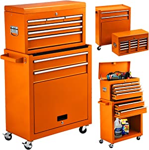 High Capacity 8-Drawer Rolling Tool Chest 2in1 Portable Tool Box Organizer with Drawers and Wheels, Garage Removable Tool Storage Cabinet (Orange)