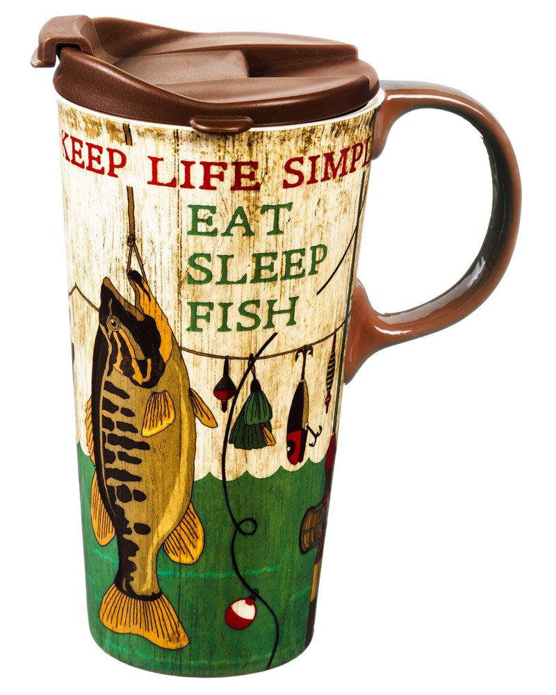 Cypress Home Eat, Sleep, Fish Ceramic Travel Coffee Mug, 17 ounces