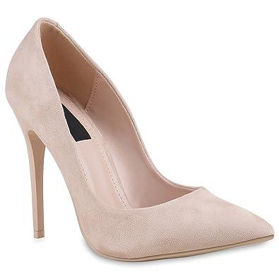 Spitze Damen Pumps Stilettos Lack High Heels Elegant Schuhe 133892 Creme 35  Flandell 1b3c734961