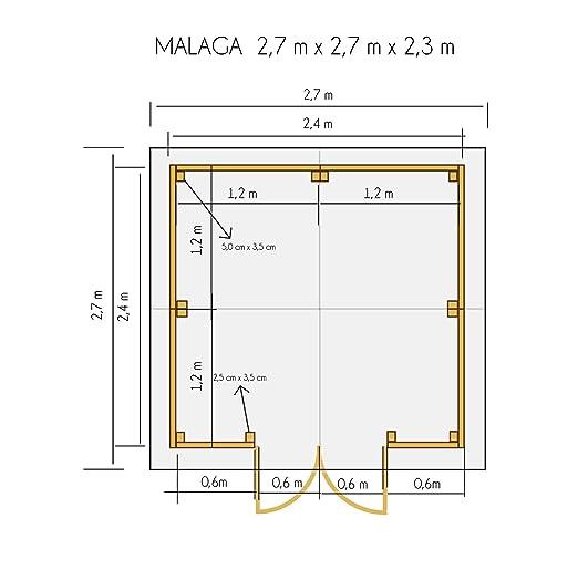 cadema Jardín Casa de madera 2, 7 m x 2, 7 m, (16 mm) con ventanas, incluye suelo, Malaga - Cobertizo: Amazon.es: Jardín