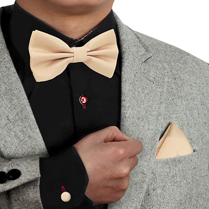 Hanky /& Cufflinks Set Black Mens Quality Smart Formal Classic Satin Bow Tie
