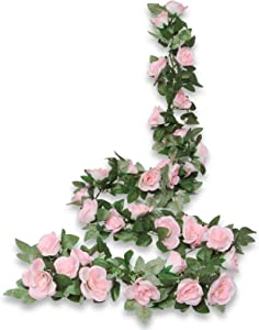 COCOBOO 2PCS 16FT Pink Fake Rose Flower Vines Garland Plants for Hotel Home Party Table Room Decor Silk Artificial Hanging Rose Ivy Office Wedding Party Garden Craft Art Décor